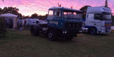 Trucks in sunset.